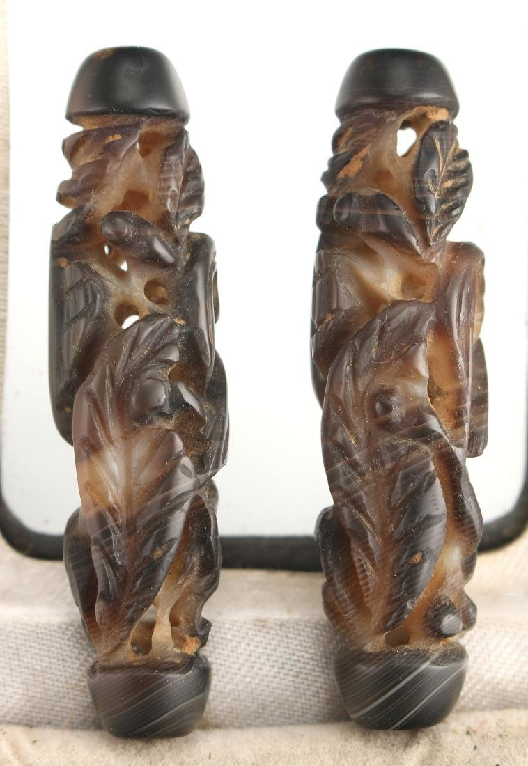 PAIR OF CARVED DZI BEADS IN BOX