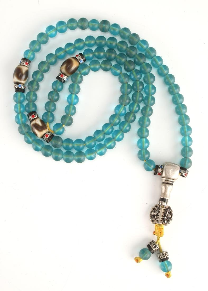 TURQUOISE PEKING GLASS MALA WITH THREE DZI BEADS