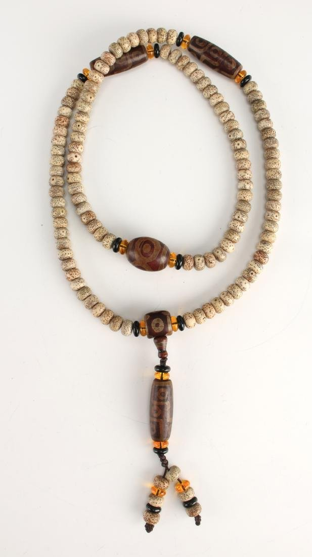 LOTUS BOHDI MALA BEADS WITH FIVE DZI BEADS