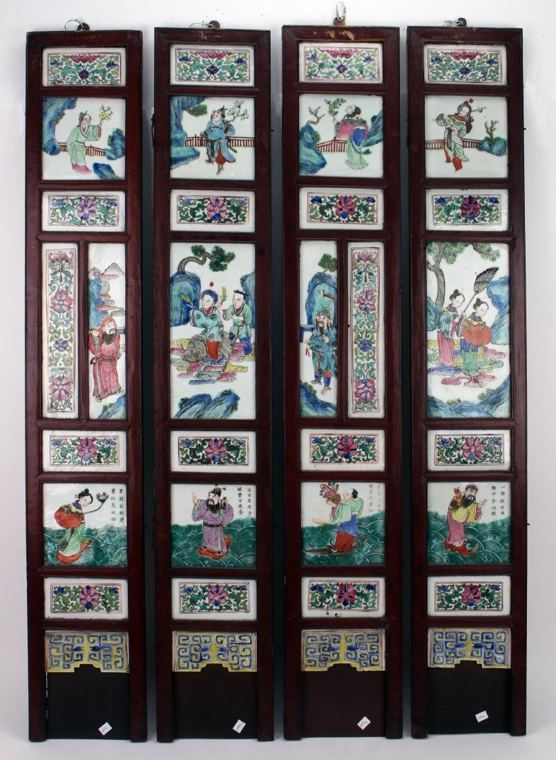 FOUR CHINESE 19TH C PORCELAIN PANELS
