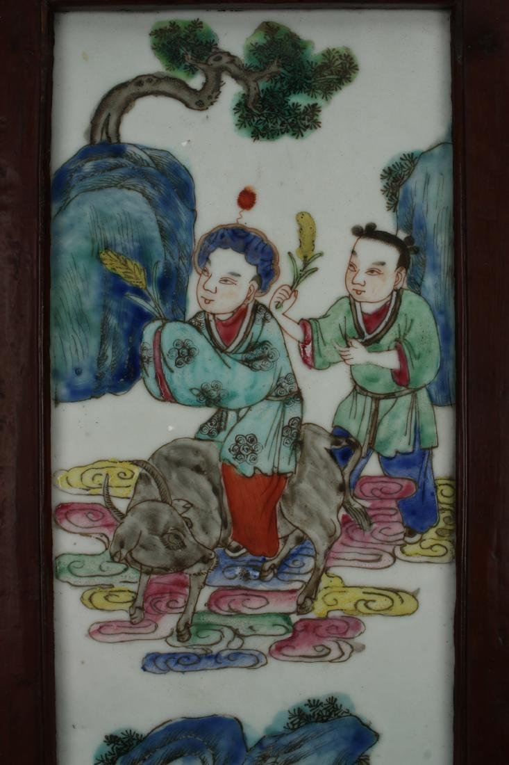 FOUR CHINESE 19TH C PORCELAIN PANELS - 3