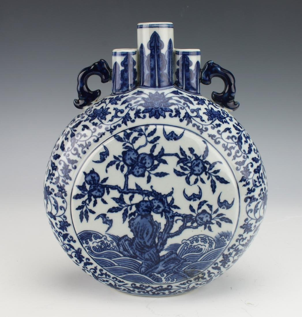 QIANLONG BLUE AND WHITE MOON FLASK - 2