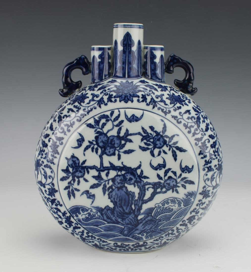 QIANLONG BLUE AND WHITE MOON FLASK - 6