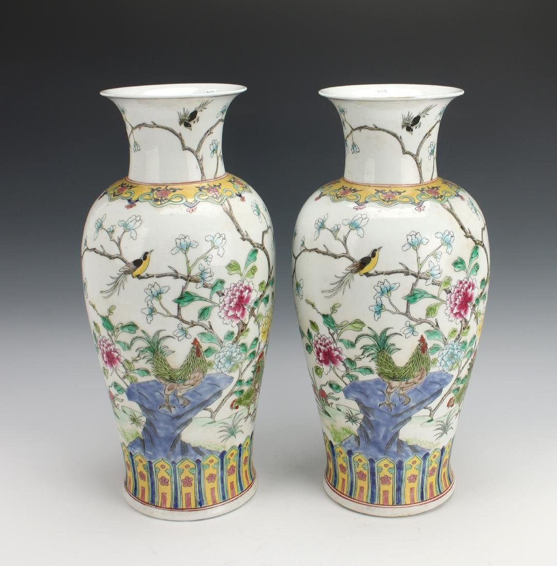 PAIR OF TALL KANGXI ROOSTER VASES