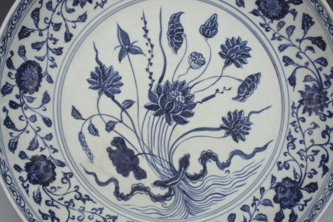 MING BLUE AND WHITE LOTUS CHARGER - 2