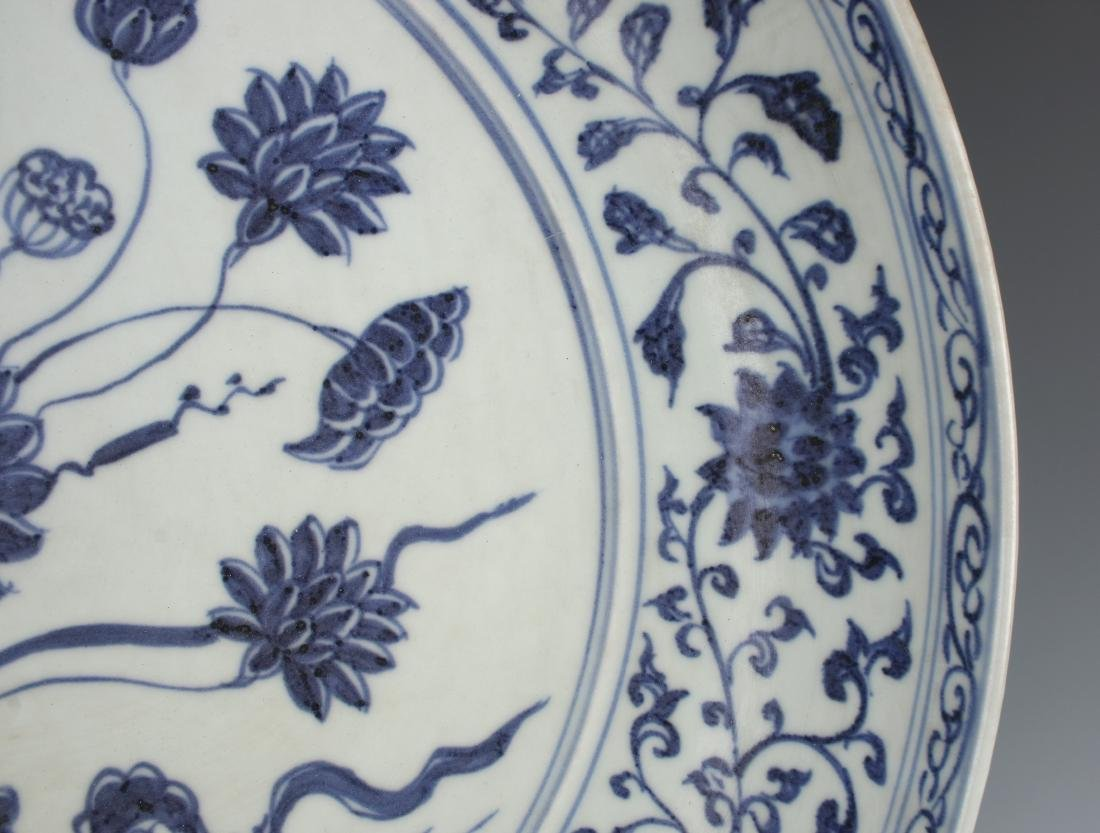 MING BLUE AND WHITE LOTUS CHARGER - 7