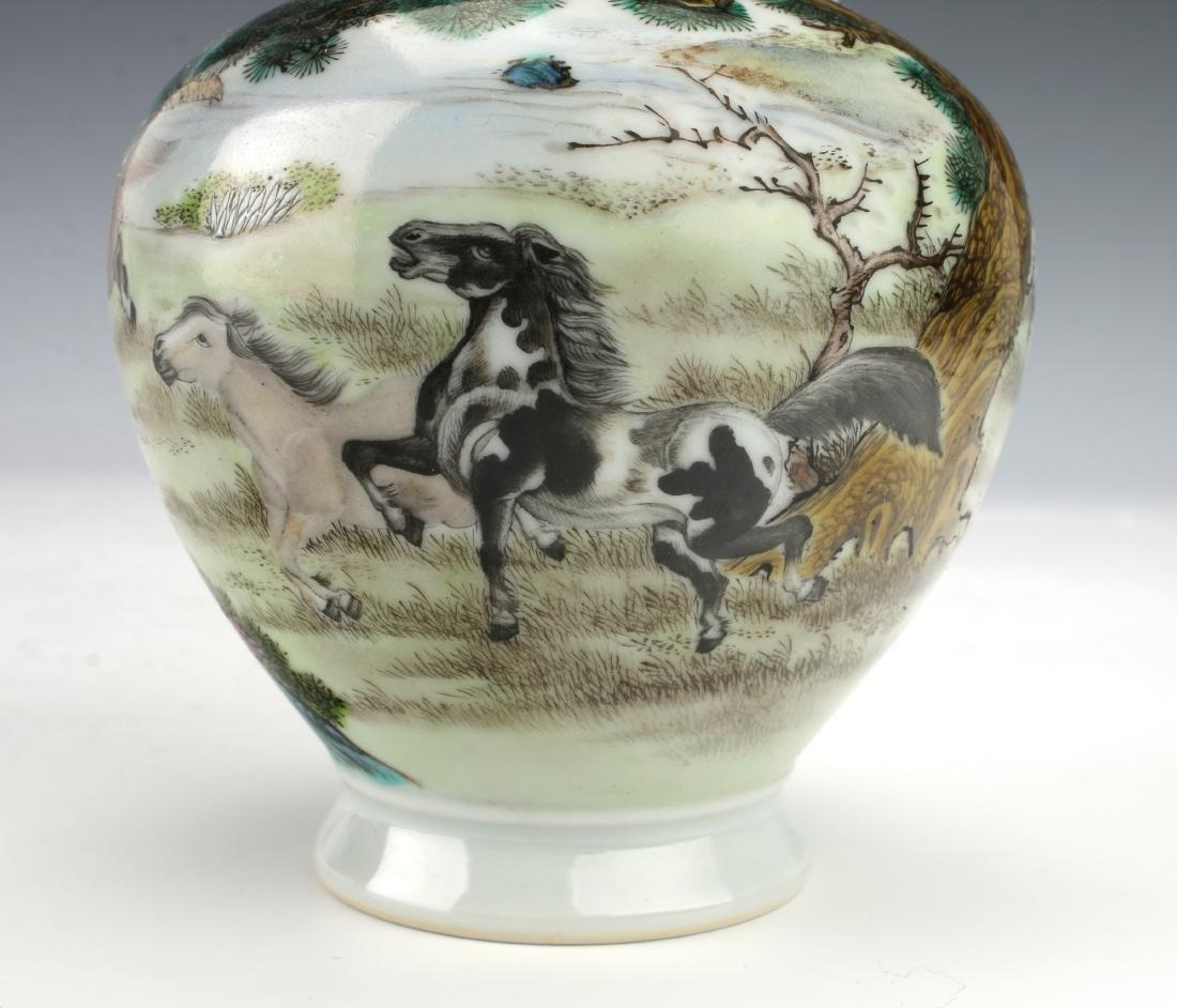 YONGZHENG HORSE BOTTLE VASE WITH HANDLES - 6