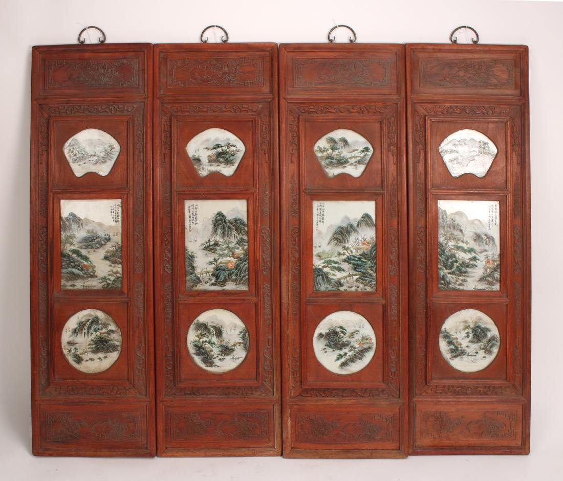 FOUR REPUBLIC PERIOD PORCELAIN HANGING PLAQUES