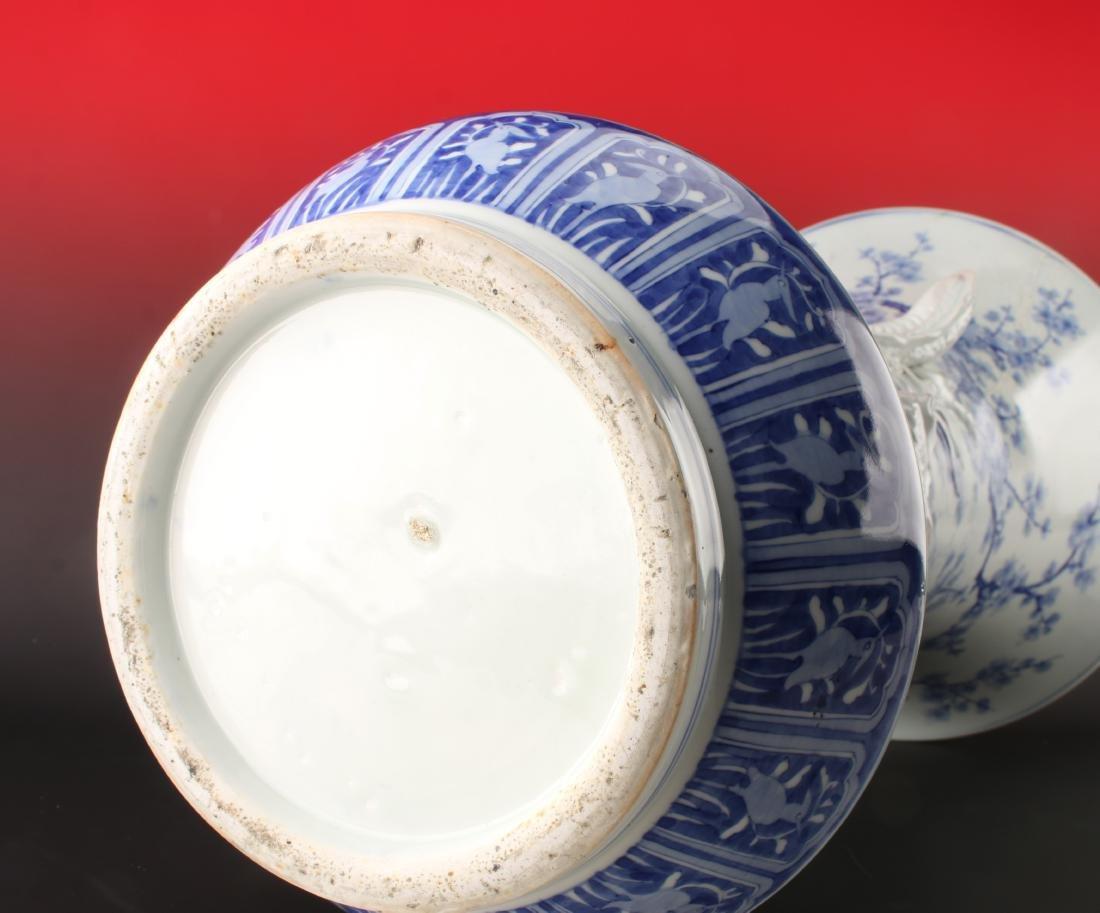 IMPRESSIVE 19TH C BLUE & WHITE DRAGON PALACE VASE - 10