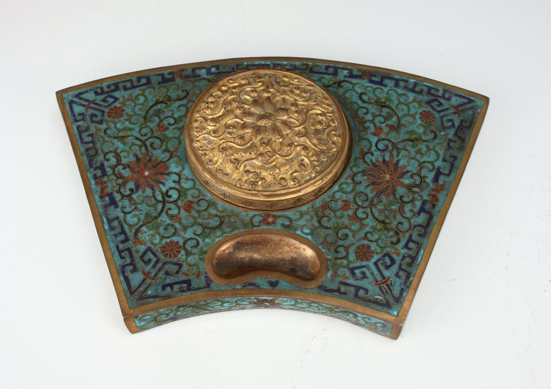 RARE KANGXI PERIOD CLOISONNE INKWELL
