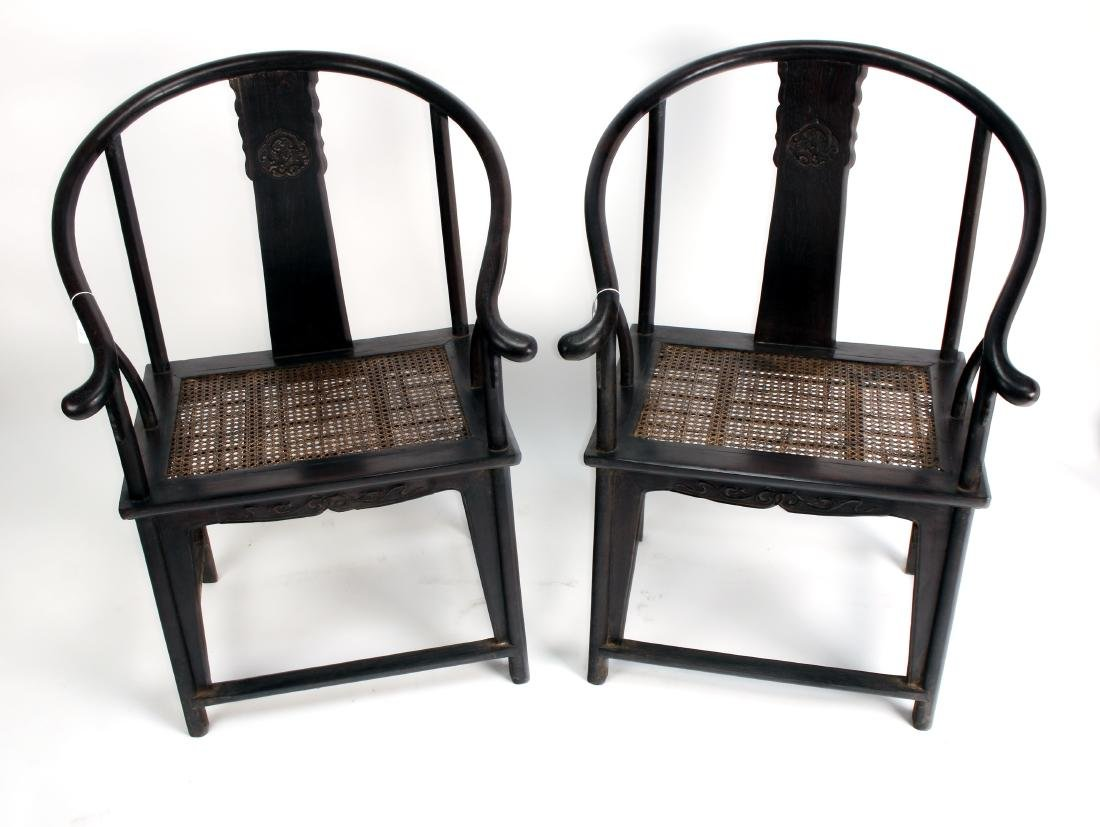 PAIR OF ZITAN HORSESHOE CHAIRS - 10