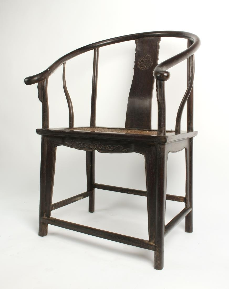 PAIR OF ZITAN HORSESHOE CHAIRS - 5