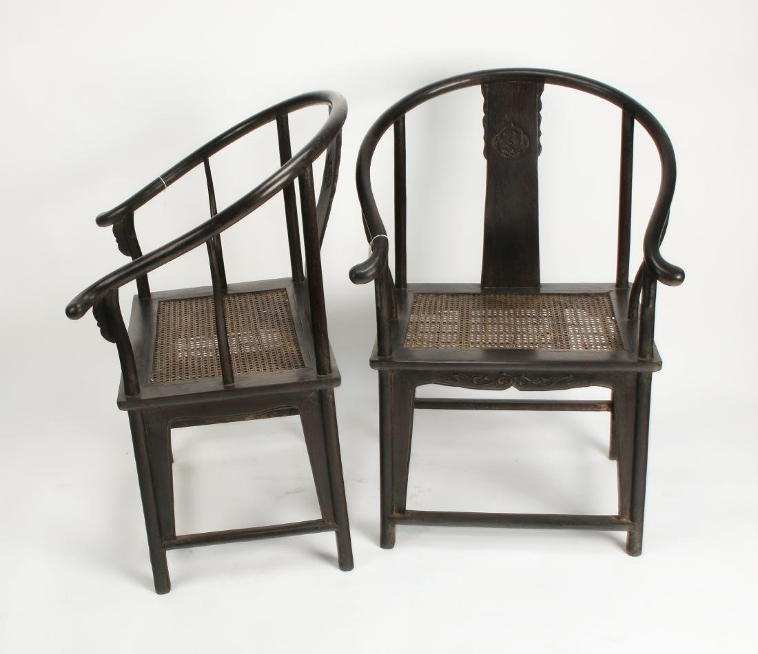 PAIR OF ZITAN HORSESHOE CHAIRS - 9