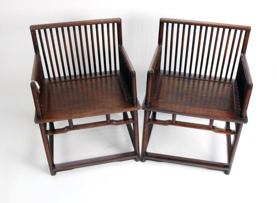 PAIR OF 19TH C. HUANGHUALI ROSE CHAIRS - 2