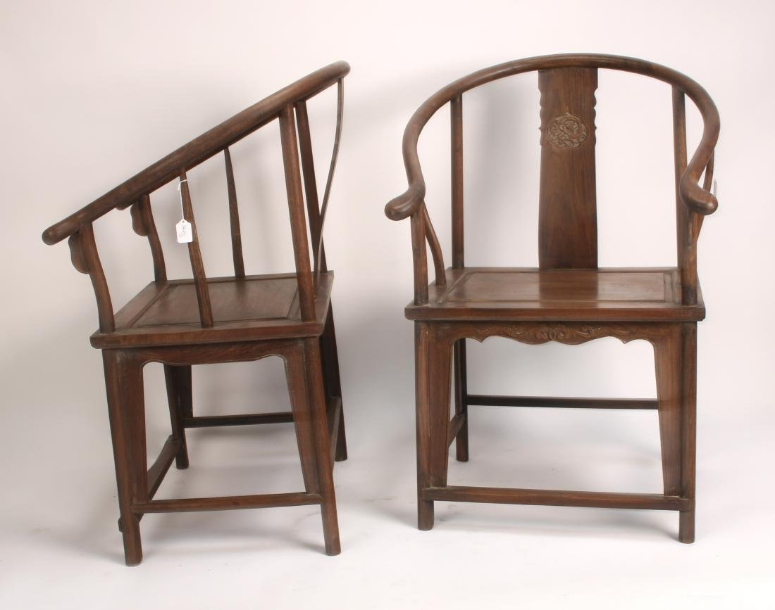 PAIR OF HUANGHUALI HORSESHOE CHAIRS - 2