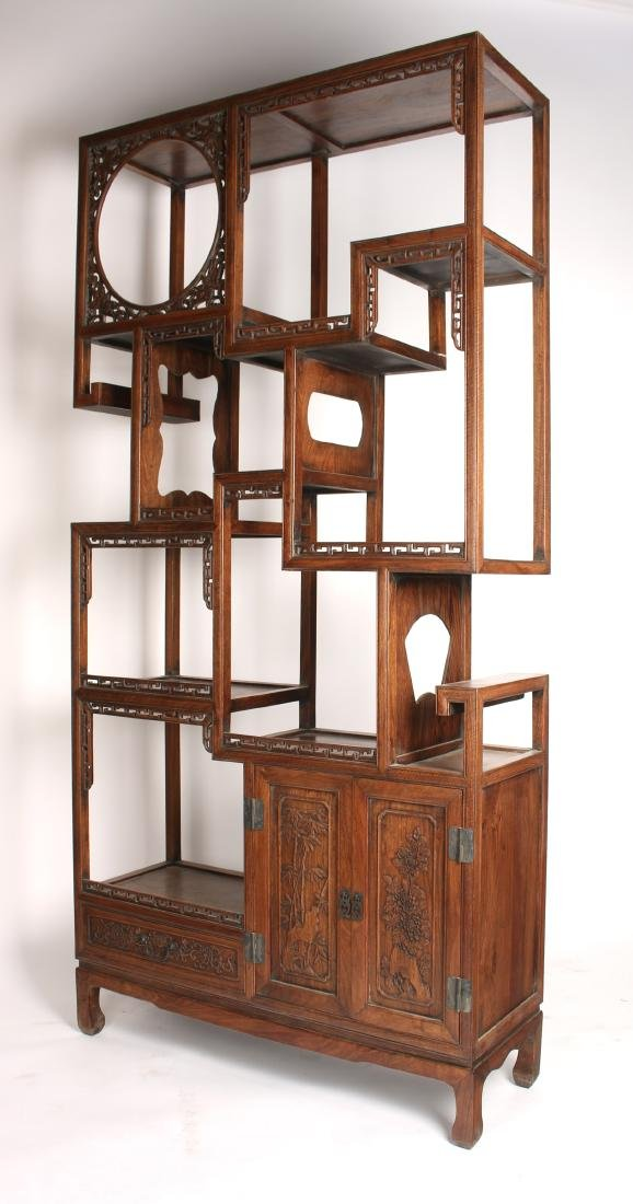 PAIR OF MIRRORED CARVED HUANGHUALI SHELVES - 10