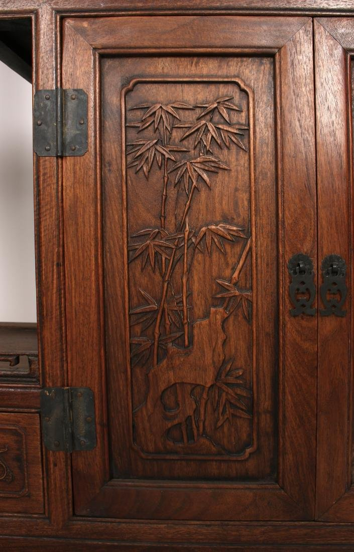 PAIR OF MIRRORED CARVED HUANGHUALI SHELVES - 4
