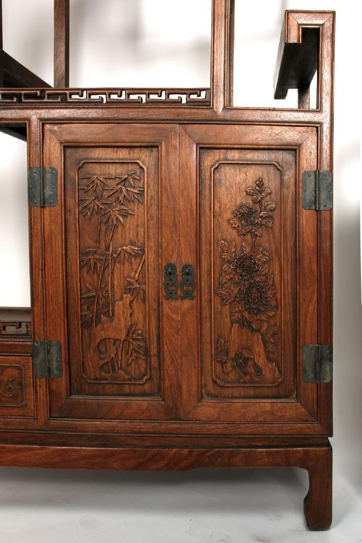 PAIR OF MIRRORED CARVED HUANGHUALI SHELVES - 5