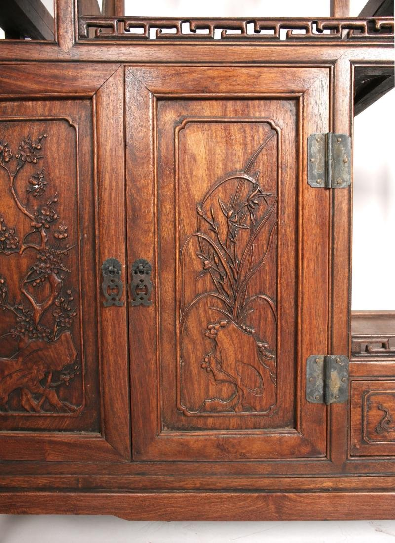 PAIR OF MIRRORED CARVED HUANGHUALI SHELVES - 6