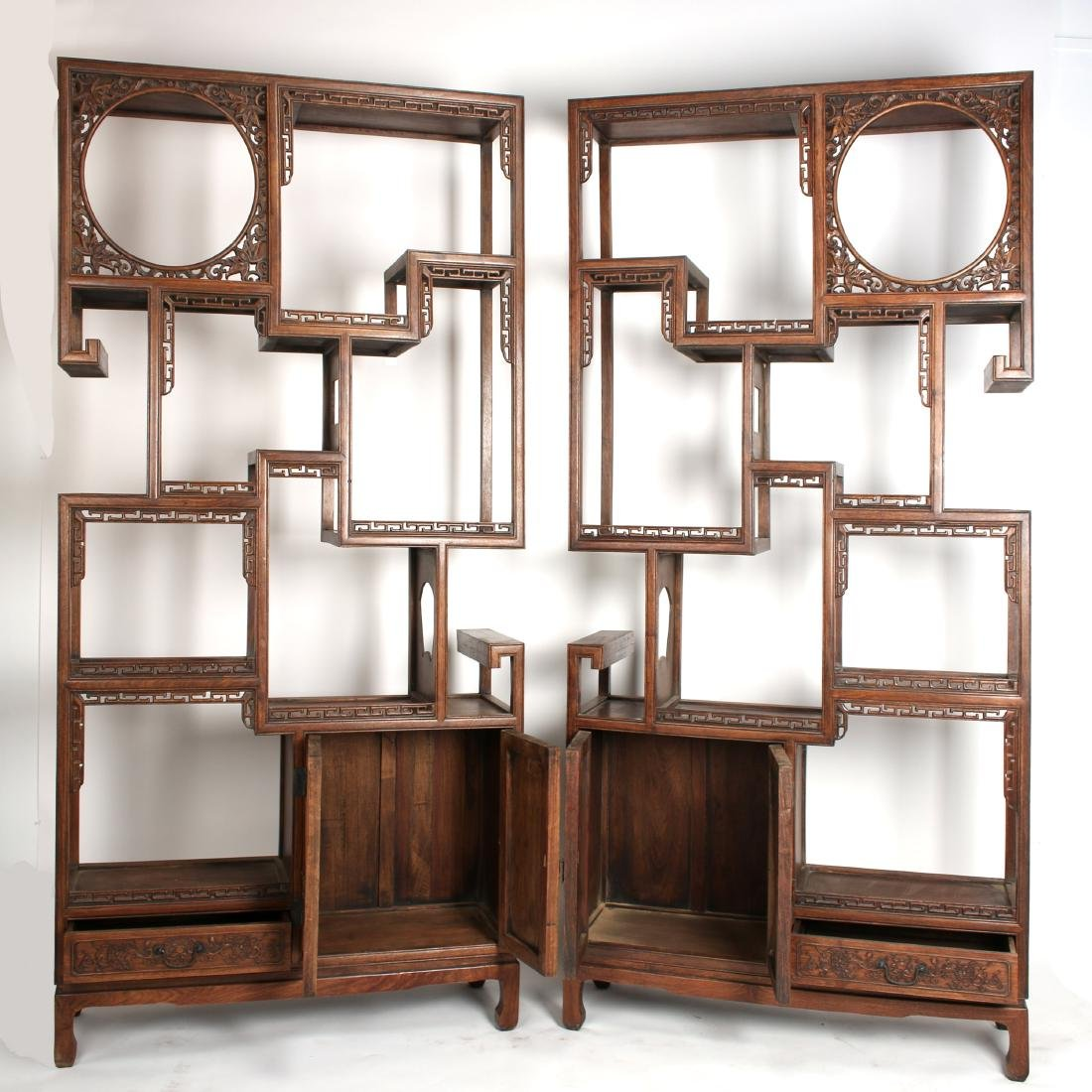 PAIR OF MIRRORED CARVED HUANGHUALI SHELVES - 7