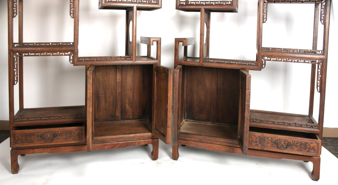 PAIR OF MIRRORED CARVED HUANGHUALI SHELVES - 8