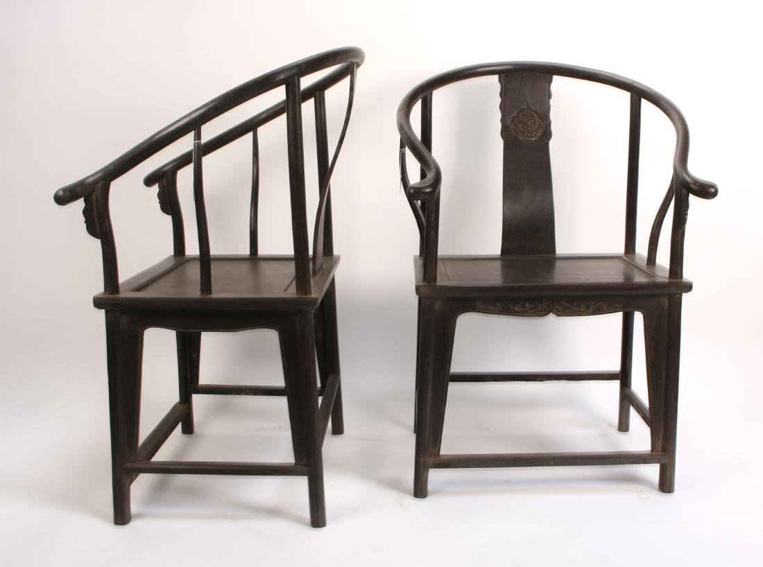 PAIR OF ZITAN HORSESHOE CHAIRS - 4