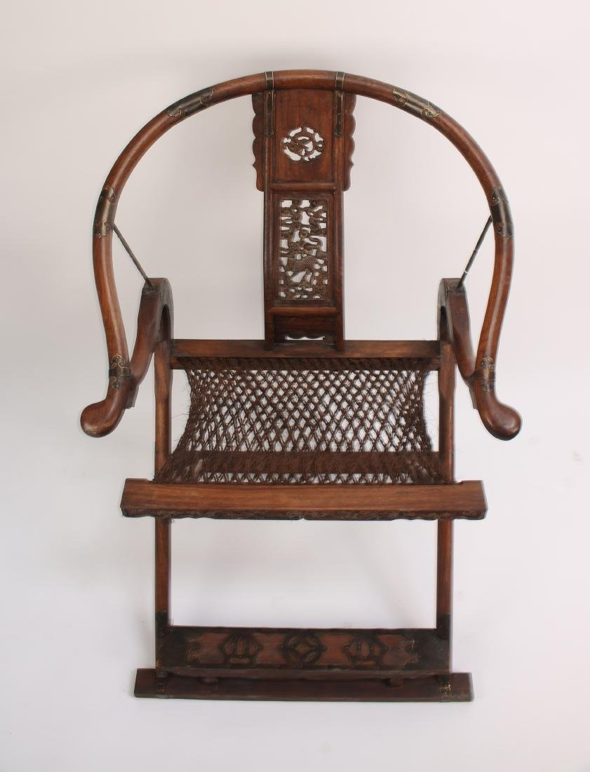 PAIR OF HUANGHUALI FOLDING CHAIRS - 2