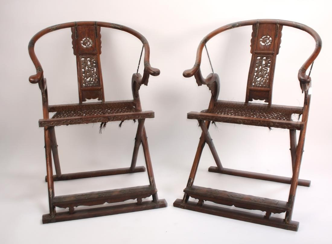 PAIR OF HUANGHUALI FOLDING CHAIRS - 9