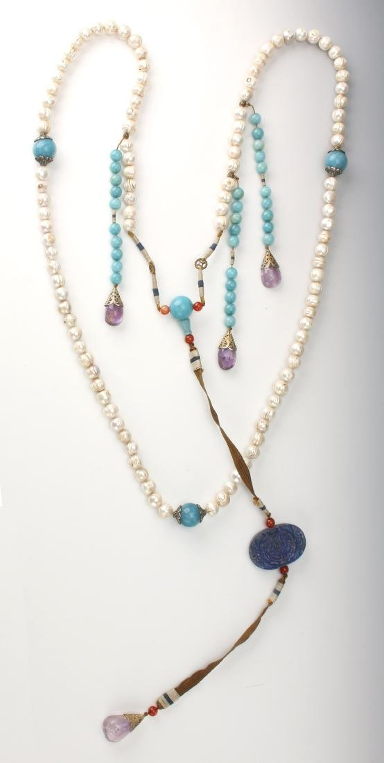 QING DYNASTY PEARL CHAO ZHU/COURT NECKLACE