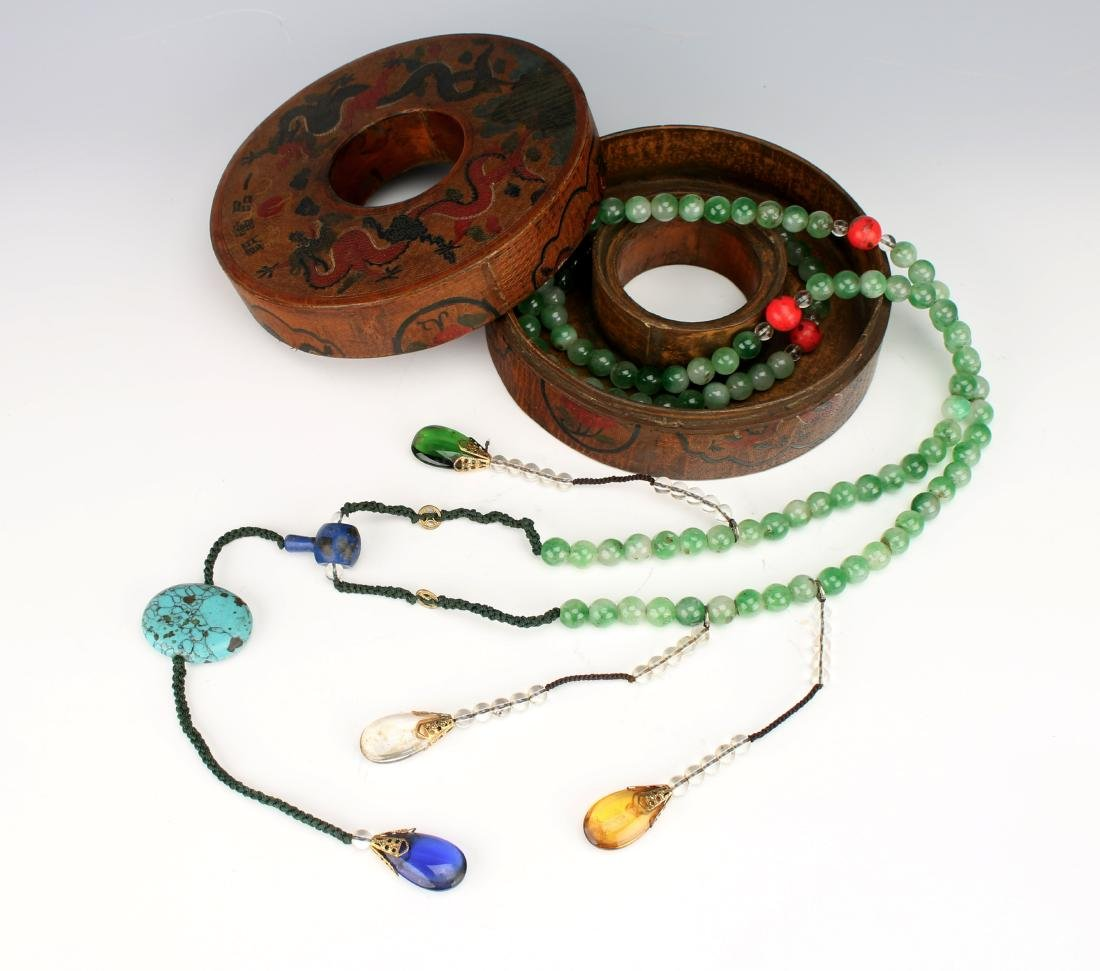 QING JADEITE COURT NECKLACE BOX WITH CHAO ZHU