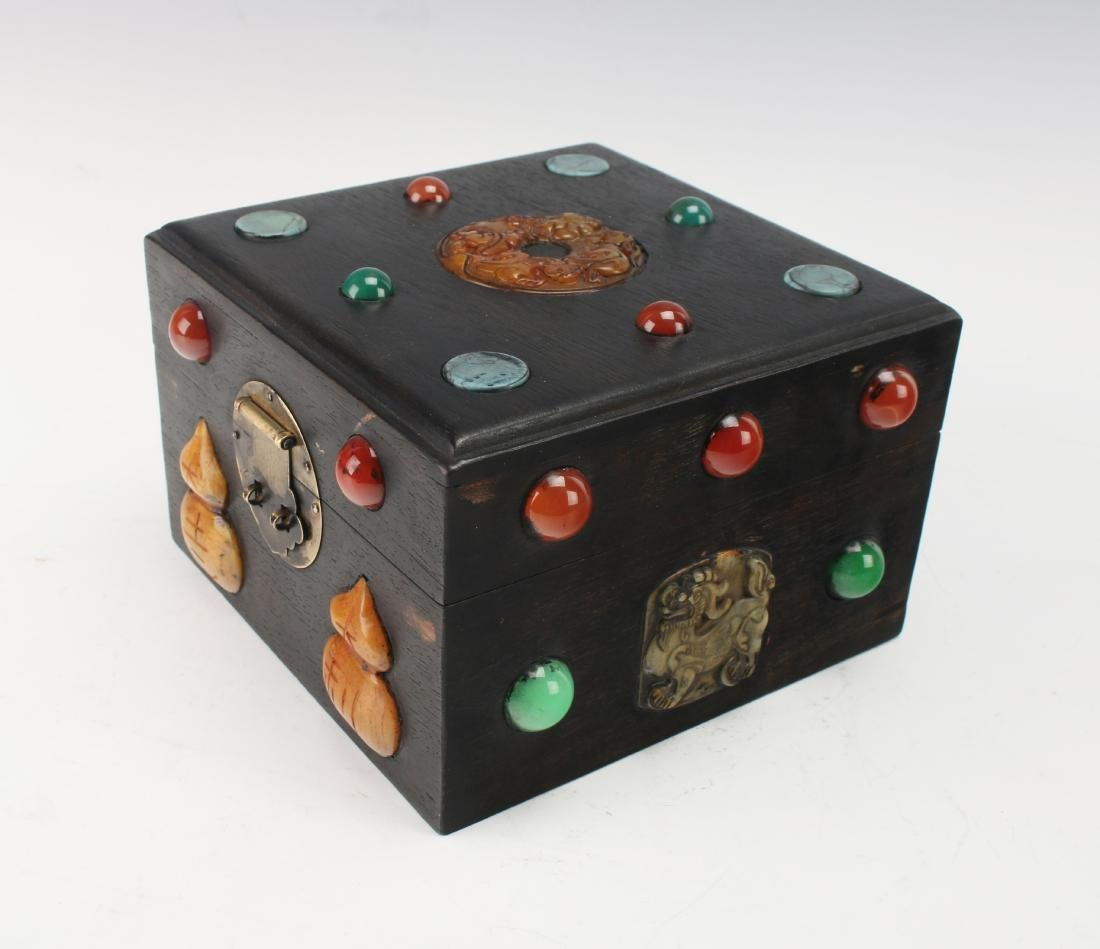 SQUARE QING ZITAN BOX WITH APPLIED DECORATION