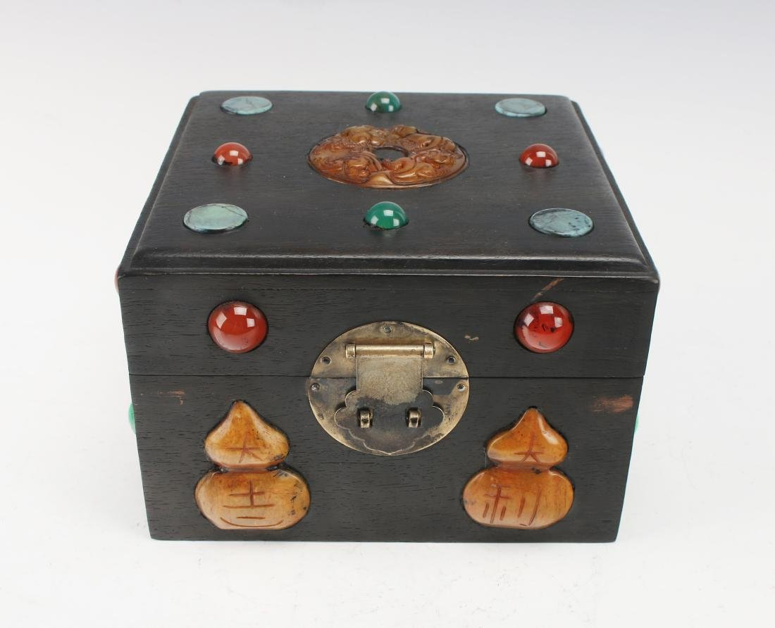 SQUARE QING ZITAN BOX WITH APPLIED DECORATION - 2