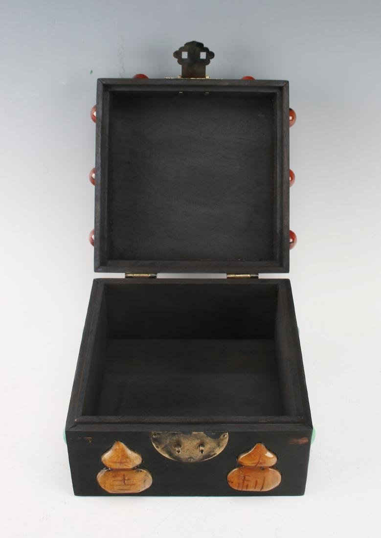 SQUARE QING ZITAN BOX WITH APPLIED DECORATION - 4