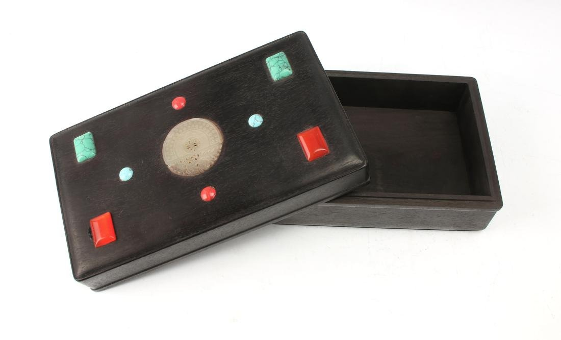RECTANGLE QING ZITAN BOX WITH APPLIED DECORATION