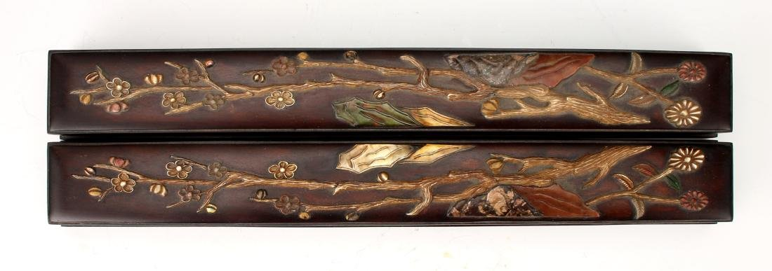 PAIR OF MIRRORED SCROLL WEIGHTS