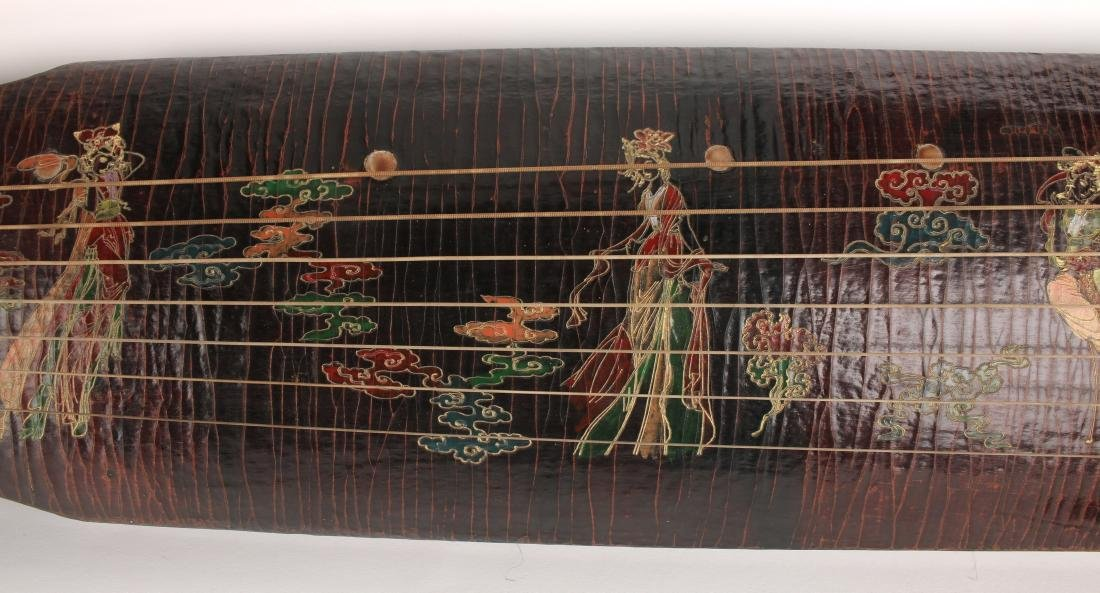 MOTTLED BROWN LACQUER GUQIN WITH TRAVEL BAG - 8
