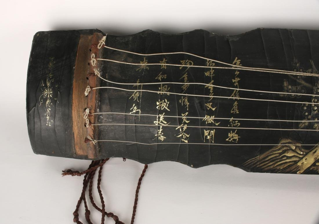 BLACK LACQUER GUQIN WITH TRAVEL BAG - 3