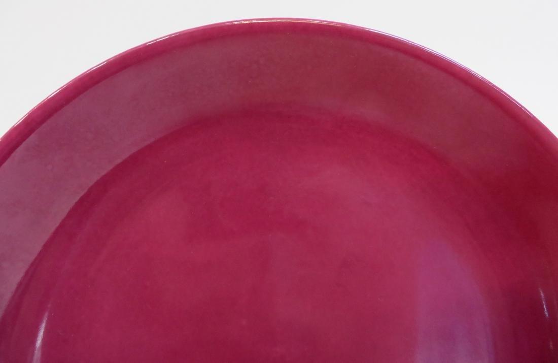 YONGZHENG MAROON RED SHALLOW PLATE - 3