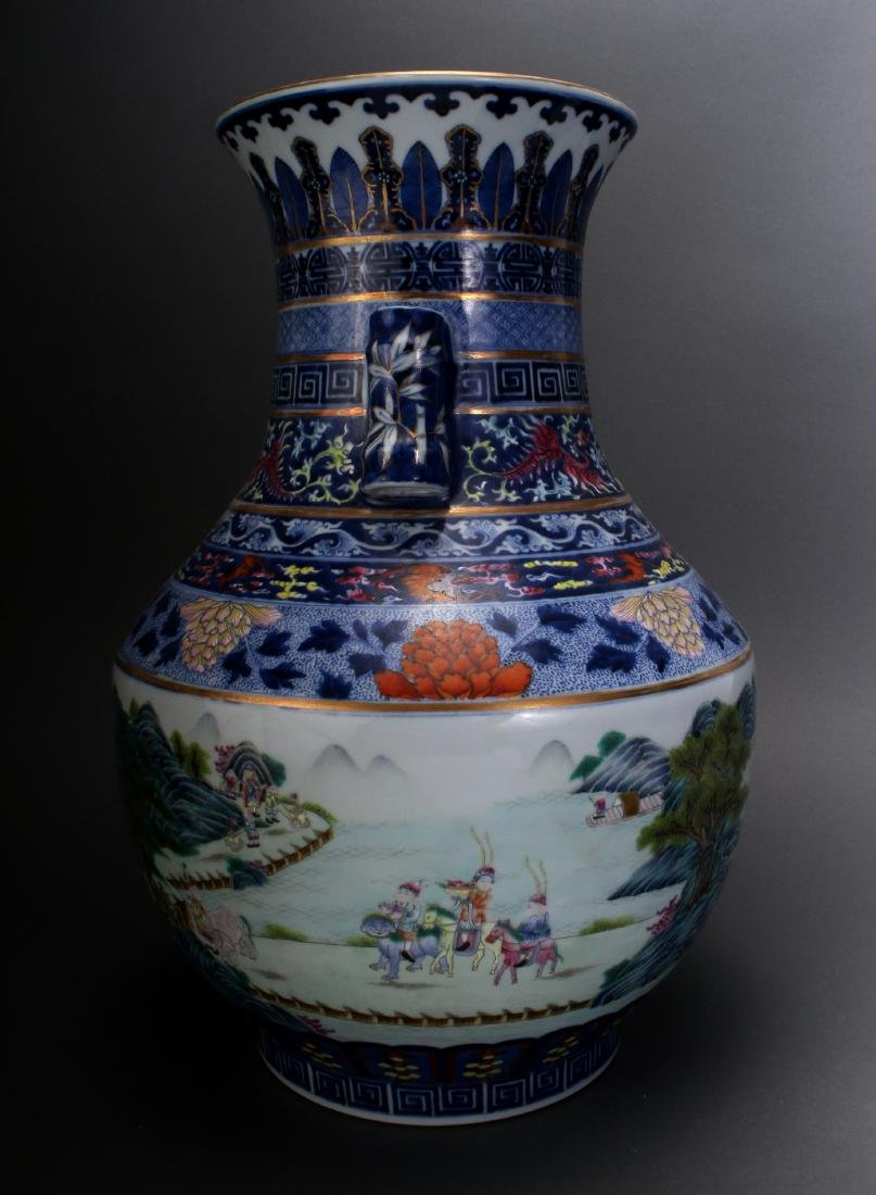 CHINESE FAMILLE ROSE QIAN LONG MARKED VASE - 2