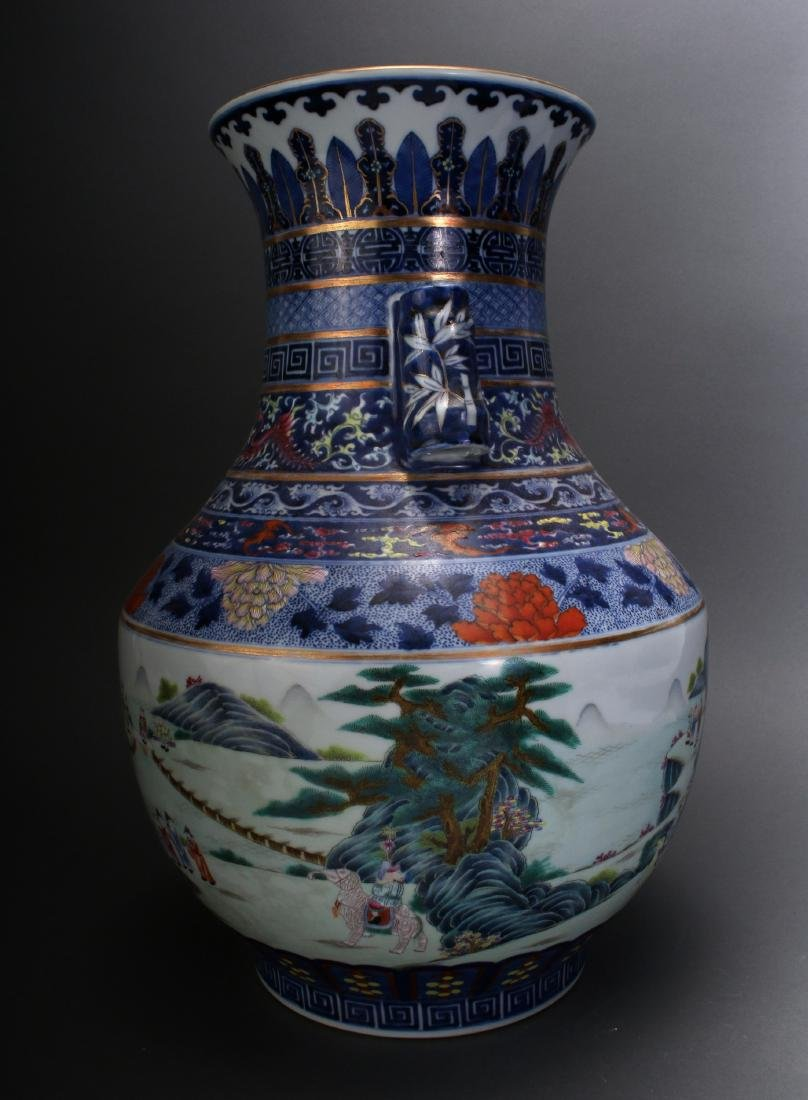 CHINESE FAMILLE ROSE QIAN LONG MARKED VASE - 4