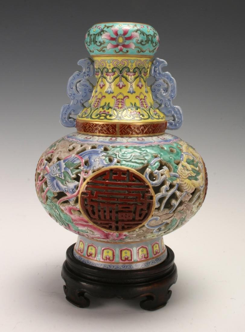 PORCELAIN THREE PIECE VASE WITH DRAGONS ON STAND