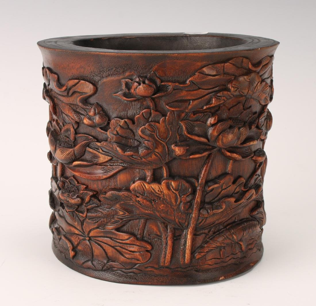 CARVED CHENXIANG WOOD BRUSH POT
