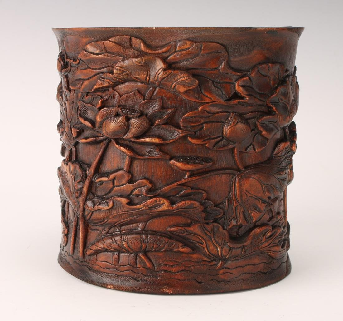 CARVED CHENXIANG WOOD BRUSH POT - 2