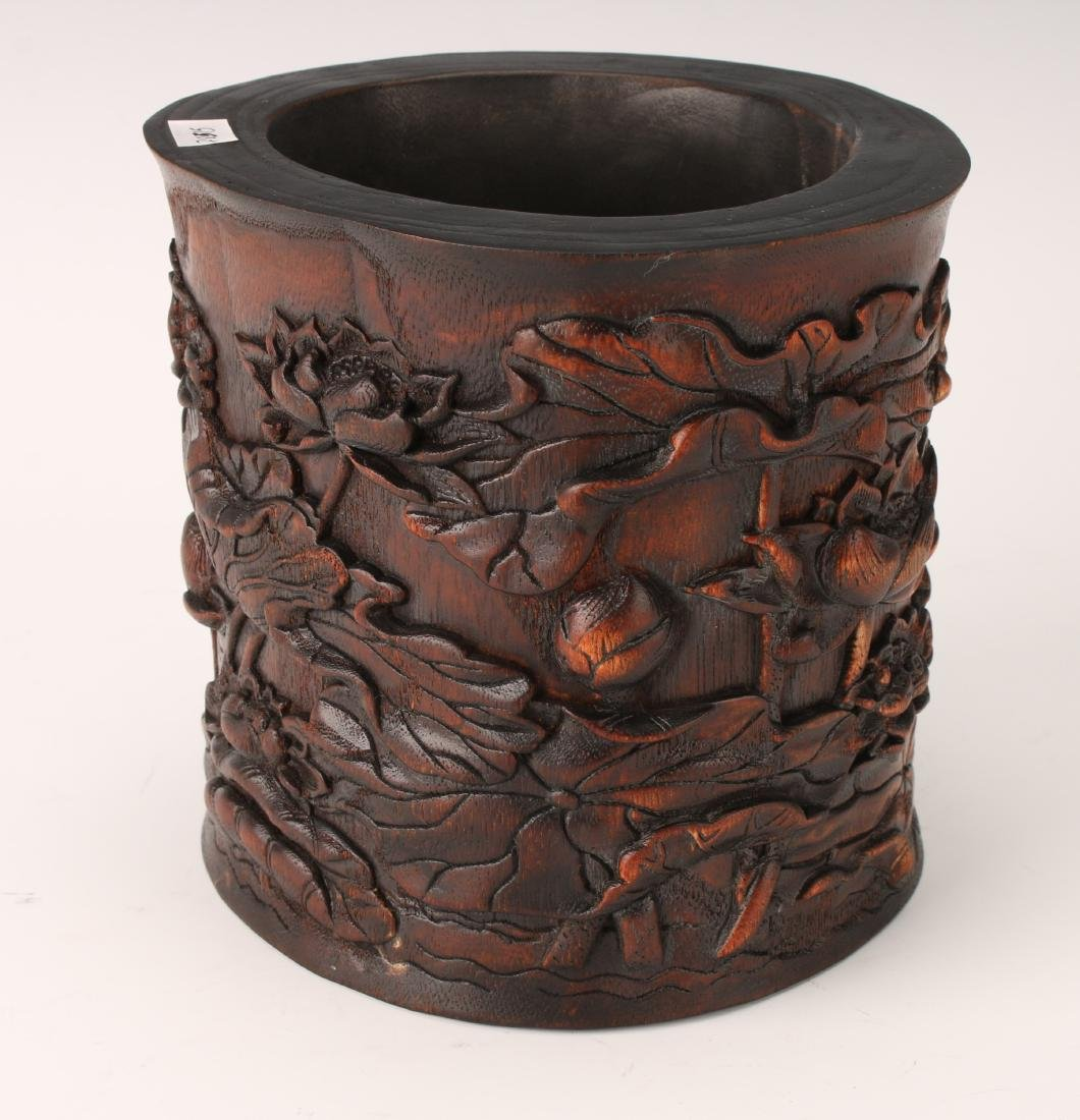 CARVED CHENXIANG WOOD BRUSH POT - 4
