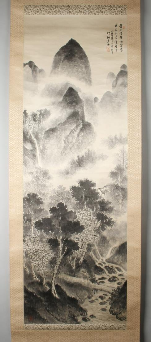 SCROLL IN GRISAILLE OF MOUNTAINS