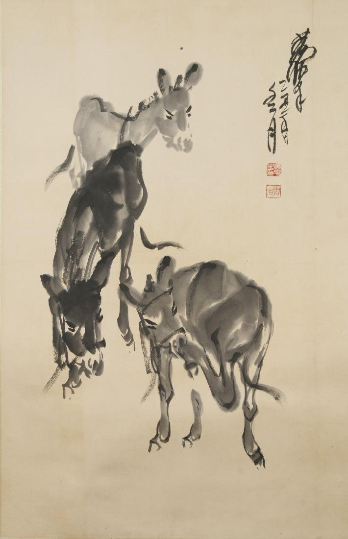 PAINTING ON PAPER OF DONKEYS