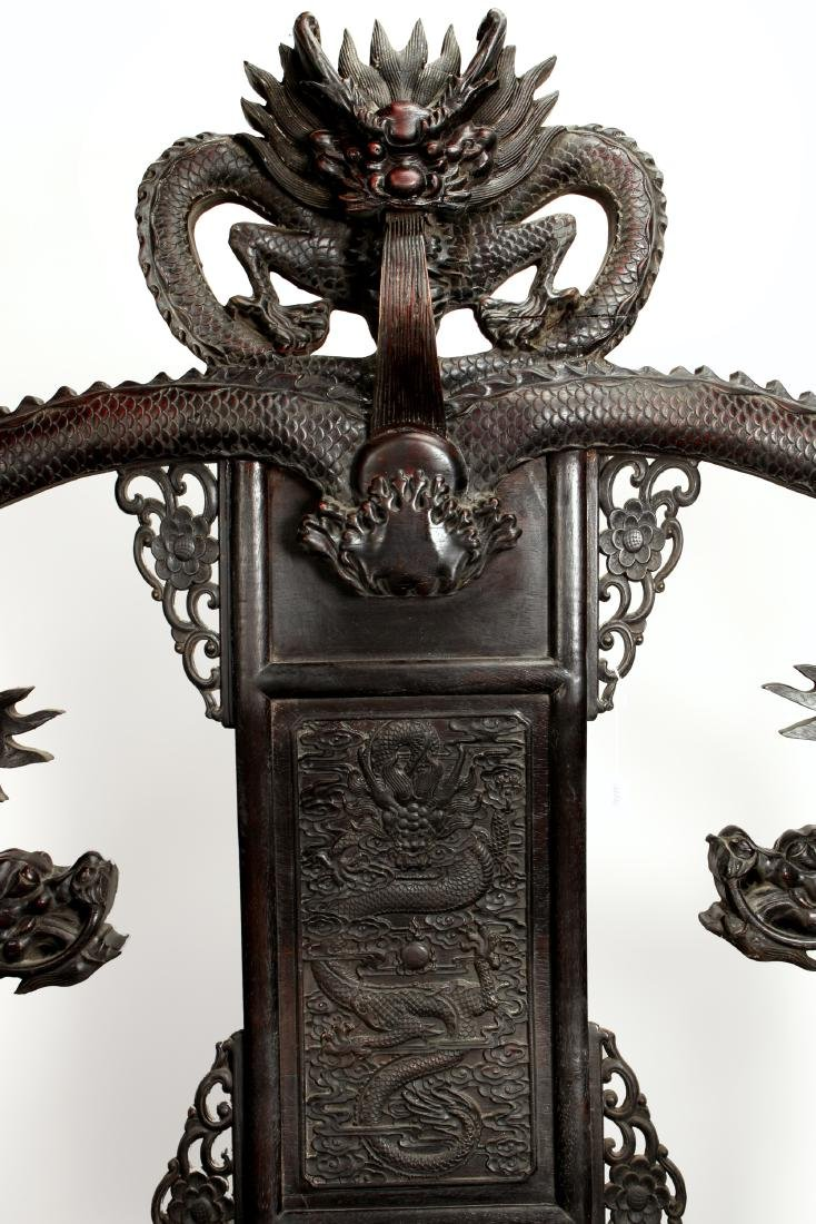 IMPRESSIVE 20TH C DRAGON ZITAN THRONE - 4