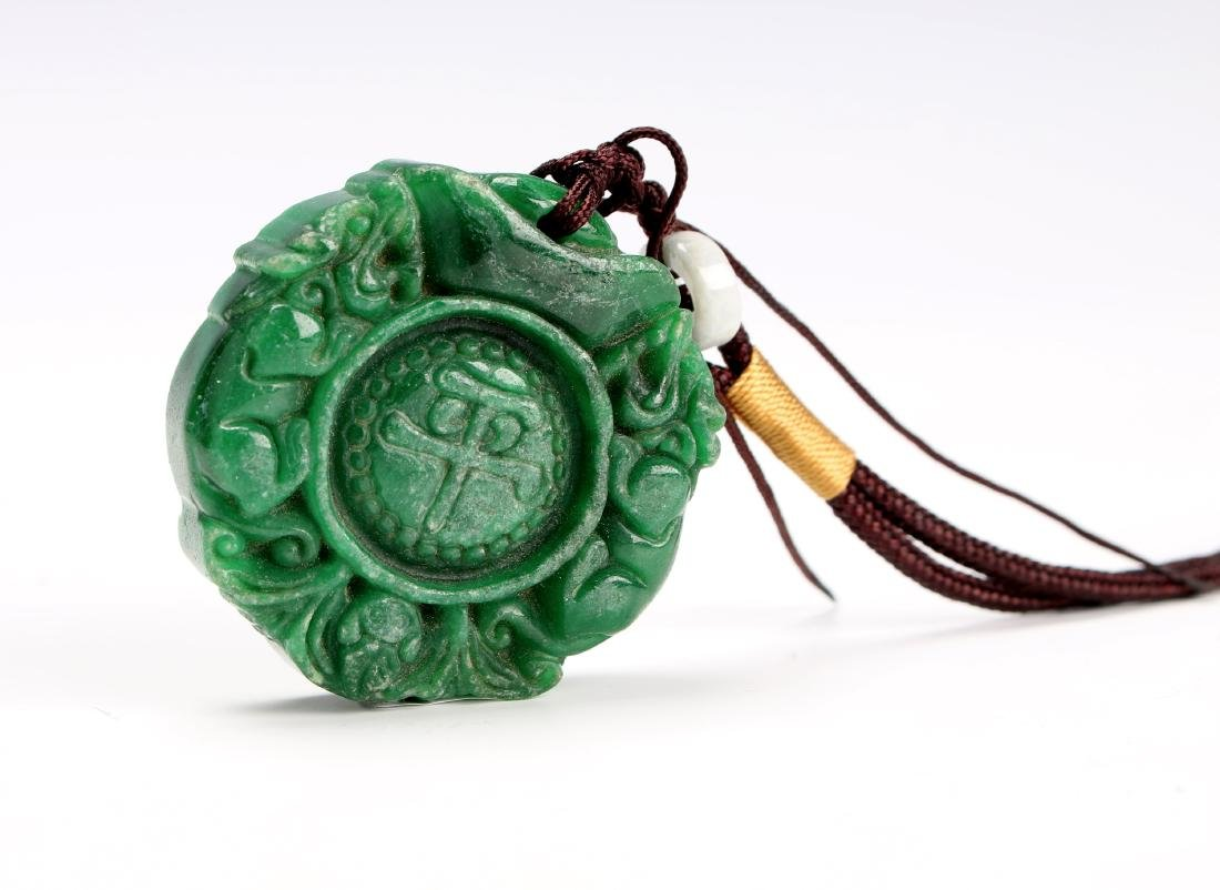 GREEN HARD STONE PENDANT - 2