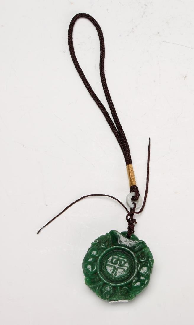 GREEN HARD STONE PENDANT - 3