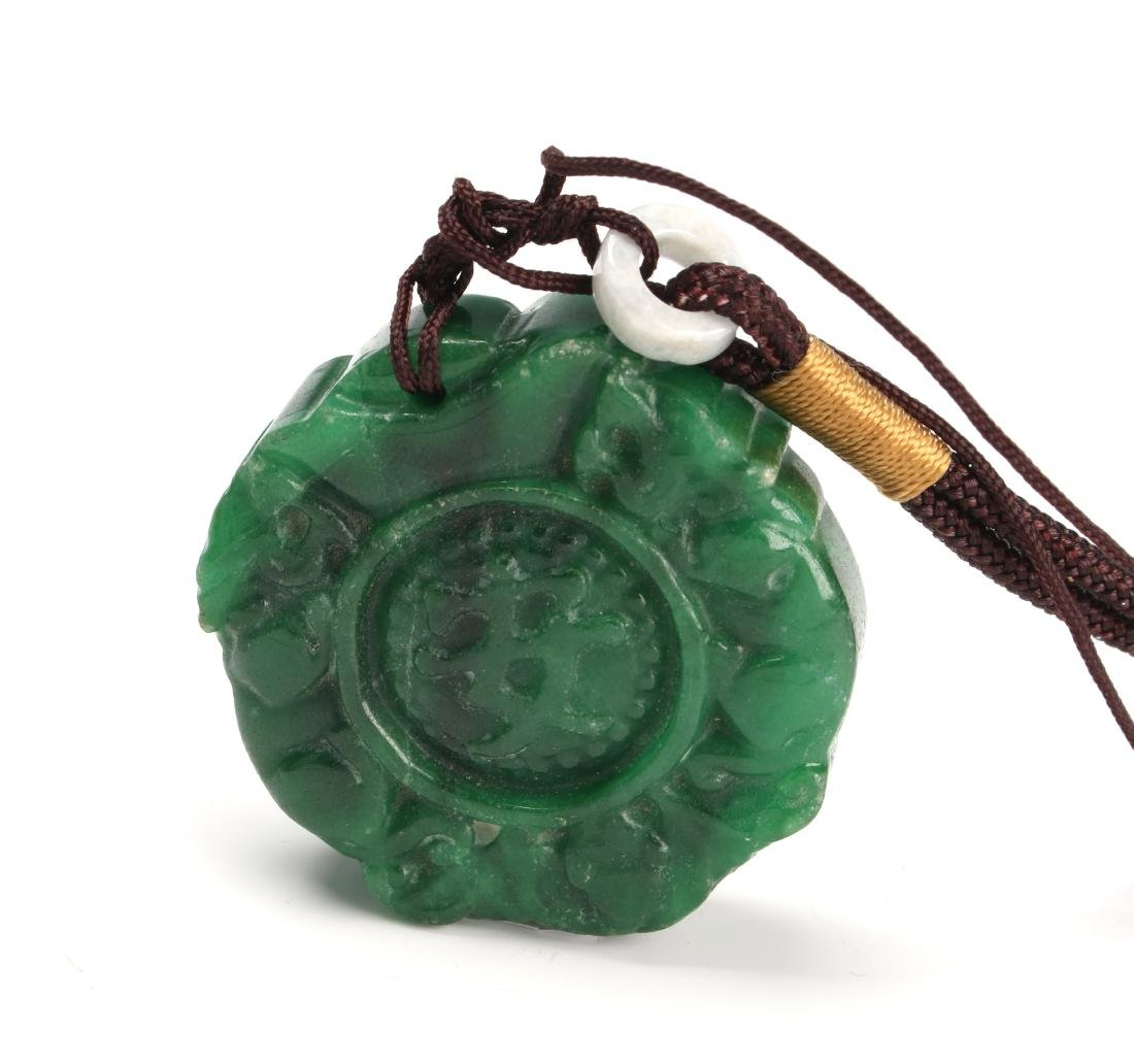 GREEN HARD STONE PENDANT - 4
